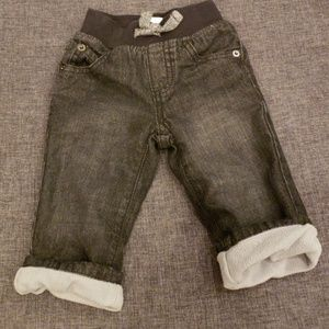 Gymboree Faded Black Fleece-Lined Jean's 6-12M
